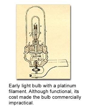 Лампа накаливания де ла Руэ с непрактичной платиновой нитью