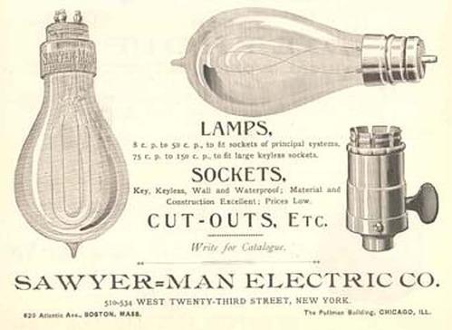 На фото: реклама лампочек и электропатронов фирмы Савьер - Ман.