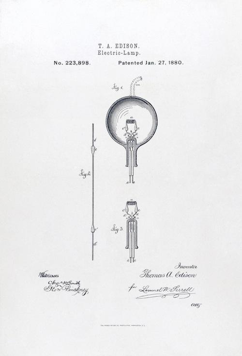 На фото: патент 223898 на электрическую лампочку Эдисона, выпущенный 27 января 1880 года.