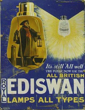На фото: реклама лампочек накаливания EDISWAN